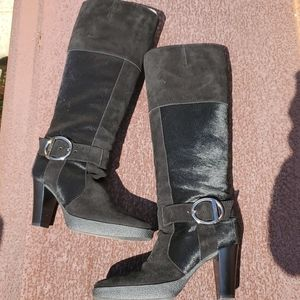 TODs calf hair suede tall Black boot MINT
